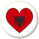 Albania Country Flag Heart 25mm Button Badge